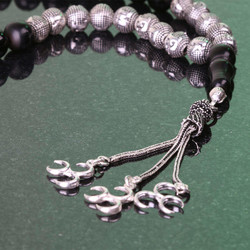Gümüş Taneli Harfli İsme Özel Oltu Tesbih - Thumbnail