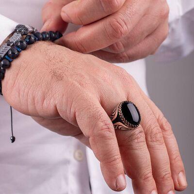 Hasır Düğüm Motifli Siyah Oniks Taşlı Erkek Yüzük