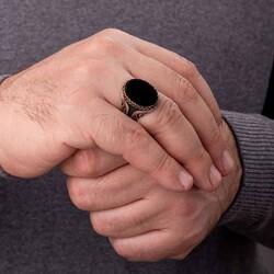 Hasır Düğüm Motifli Siyah Oniks Taşlı Erkek Yüzük - Thumbnail