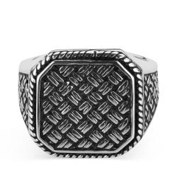 Hasır Örgü Tasarım Gümüş Yüzük - Thumbnail
