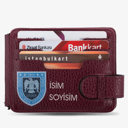 Anı Yüzük - Türk Hava Kuvvetleri Güvenlik Baskılı İsim Yazılı Para Tokalı Cüzdan Bordo