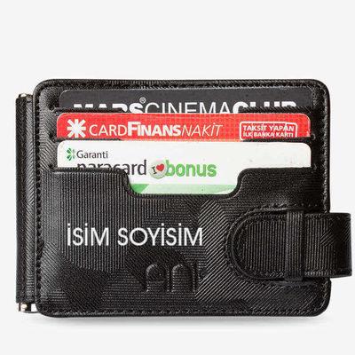 Türk Hava Kuvvetleri Rozetli Para Tokalı Kartlık Cüzdan Kamuflaj Siyah