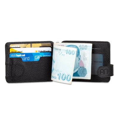 Hazine ve Maliye Bakanlığı Baskılı Para Tokalı Çift Taraflı Deri Erkek Kartlık Cüzdan Siyah