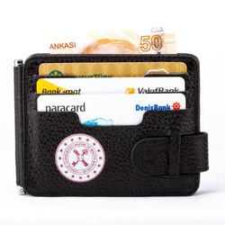 Hazine ve Maliye Bakanlığı Baskılı Para Tokalı Çift Taraflı Deri Erkek Kartlık Cüzdan Siyah - Thumbnail