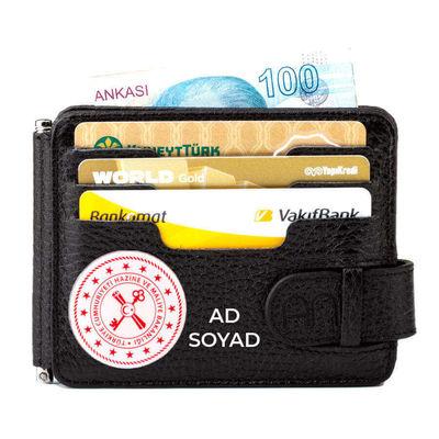Hazine ve Maliye Bakanlığı Mini Rozetli Para Tokalı Çift Taraflı Deri Erkek Kartlık Cüzdan Siyah