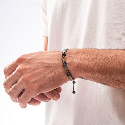 Hematit ve Zirkon Taşlı Ayarlanabilir Erkek Bileklik