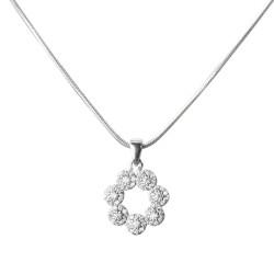Anı Yüzük - Işıltılı Çiçekler Bayan Gümüş Kolye