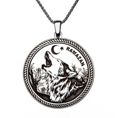 İsimli Ay Yıldız Bozkurt 925 Ayar Gümüş Erkek Kolye İnce Zincirli