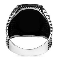 İsimli Siyah Oniks Taş Gümüş Erkek Yüzük - Thumbnail