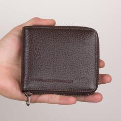 İsme Özel Kahverengi Renk Fermuarlı Geniş Erkek Cüzdan - Thumbnail