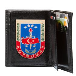 Jandarma Astsubay Rozetli Klasik Cüzdan Kamuflaj Siyah - Thumbnail