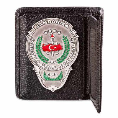 Jandarma Genel Komutanlığı Rozetli Katlamalı Klasik Cüzdan Siyah