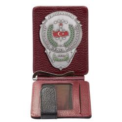Jandarma Genel Komutanlığı Rozetli Para Tokalı Kartlık Cüzdan Bordo-Siyah - Thumbnail