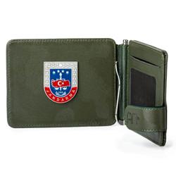 Anı Yüzük - Jandarma Mini Rozetli Para Tokalı Kartlık Cüzdan Kamuflaj Yeşil