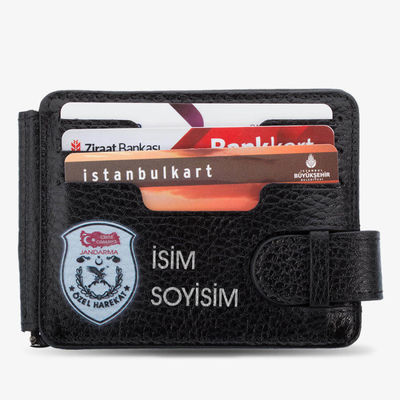 Türkiye Haritalı JÖH Baskılı İsim Yazılı Para Tokalı Cüzdan Siyah