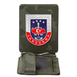 Küçük Boy Jandarma Rozetli Para Tokalı Kartlık Cüzdan Kamuflaj Yeşil