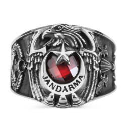 Anı Yüzük - Jandarma Şuası Motifli Kartal Başlı Asker Yüzüğü