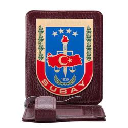 Anı Yüzük - Jandarma Subay Rozetli Para Tokalı Kartlık Cüzdan Bordo