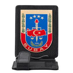 Anı Yüzük - Jandarma Subay Rozetli Para Tokalı Kartlık Cüzdan Siyah