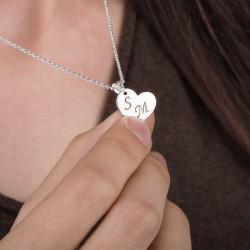Kalp Desen İkili Çift Kolyesi - Thumbnail