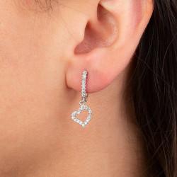 Kalp Figürlü Gümüş Küpe - Thumbnail