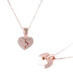 Kalp Motifli Gümüş İsimli Kolye - Thumbnail