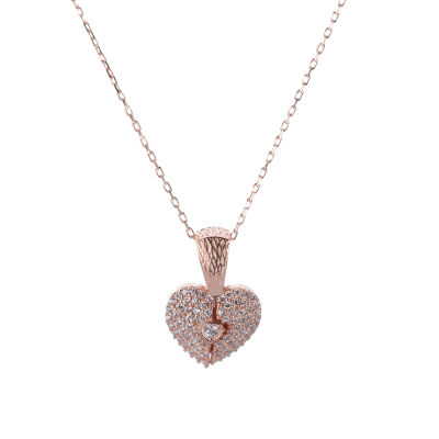 Kalp Motifli Gümüş İsimli Kolye