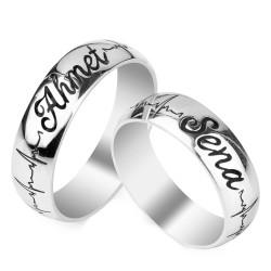 Kalp Ritmi Figürlü Kişiye Özel Gümüş Alyans Çifti - Thumbnail