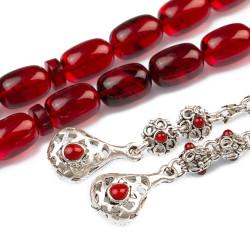 Kapsül Kesim Gümüş Püsküllü Kırmızı Sıkma Kehribar Tesbih - Thumbnail