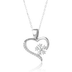 Kar Tanesi Motifli Kalpli Aşk Kolyesi - Thumbnail