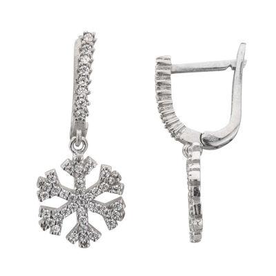 Kar Tanesi Figürlü Gümüş Küpe