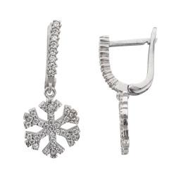 Kar Tanesi Figürlü Gümüş Küpe - Thumbnail