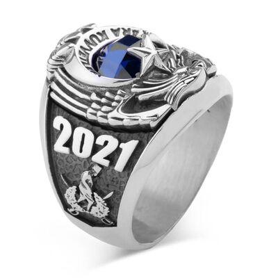 Kara Kuvvetleri 2021 Astsubay Yüzüğü Mavi Taşlı