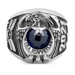 Kara Kuvvetleri 2021 Astsubay Yüzüğü Mavi Taşlı - Thumbnail