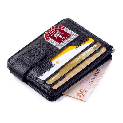 KK Astsubay Mini Rozetli Çift Taraflı Para Tokalı Kartlık Cüzdan Siyah