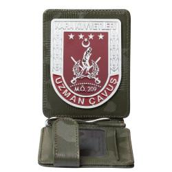 Kara Kuvvetleri Uzman Çavuş Rozetli Para Tokalı Kartlık Cüzdan Kamuflaj Yeşil - Thumbnail