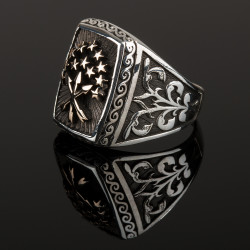 Kare Kesim Çerkes Bayraklı Gümüş Erkek Yüzük - Thumbnail