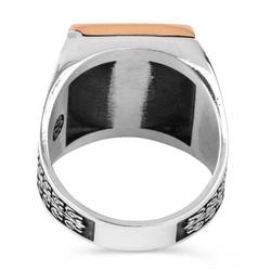 Kare Tasarım Açılabilir Gizli Kapaklı Gümüş Erkek Yüzük - Thumbnail