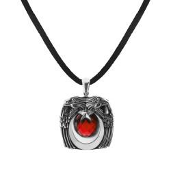Anı Yüzük - Kırmızı Taşlı Kartal Başlı Gümüş Erkek Kolyesi