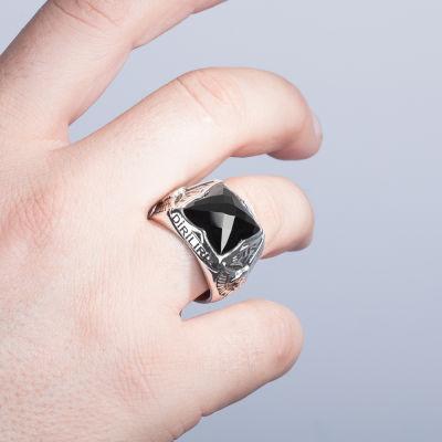 Kartal Figürlü Bir Ölür Bin Diriliriz Yüzüğü