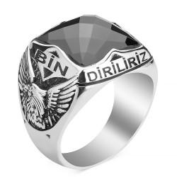 Kartal Figürlü Bir Ölür Bin Diriliriz Yüzüğü - Thumbnail