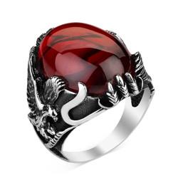 Anı Yüzük - Kartal Figürlü Kırmızı Zirkon Taşlı Gümüş Erkek Yüzük