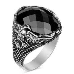 Kartal Motifli Fasetalı Siyah Zirkon Taşlı Gümüş Erkek Yüzük