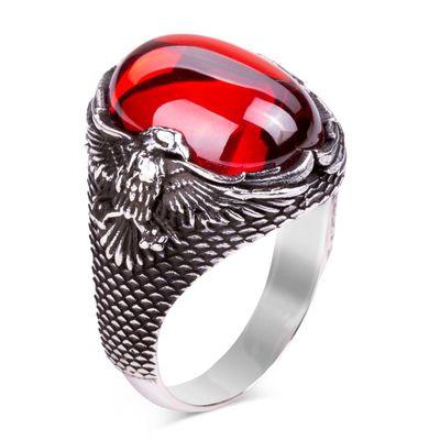 Kartal Motifli Kırmızı Taşlı Gümüş Erkek Yüzük