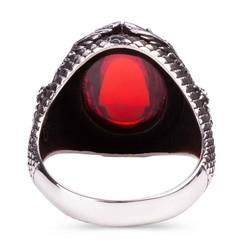 Kartal Motifli Kırmızı Taşlı Gümüş Erkek Yüzük - Thumbnail