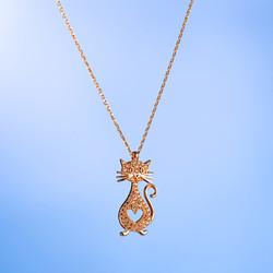 Kedi Figürlü Kalpli Gümüş Bayan Kolye - Thumbnail