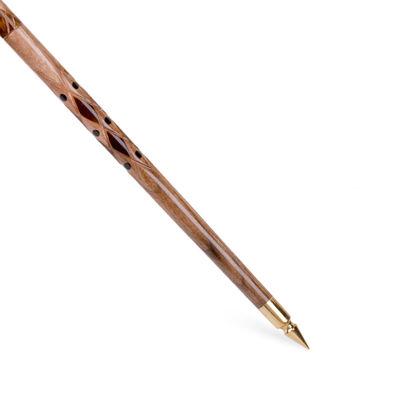 Kemik Kakmalı Çift Baklava Dilimi İşlemeli Ceviz Ağacı Baston