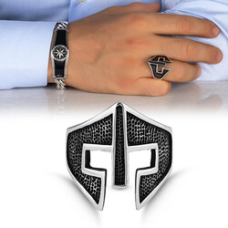 Keskin Çizgisel Savaşçı Miğferi Taşsız Gümüş Erkek Yüzük - Thumbnail