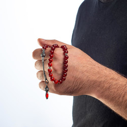 Kırmızı Akik Taşlı Gümüş Kazazlı Tesbih - Thumbnail