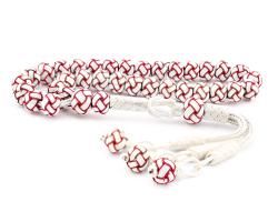 Kırmızı Beyaz Kazaz El Örmesi Bilek Boy Gümüş Tesbih - Thumbnail